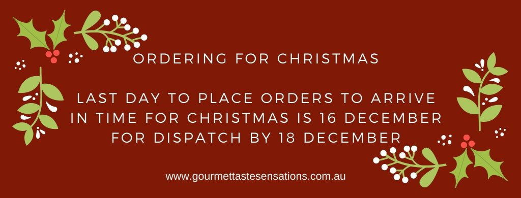 Ordering for Chrismas  Last day to place orders to arrive in time for Christmas is 16 December for dispatch by 18 December.